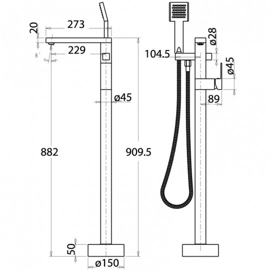 SQUARE BATH FILLER WITH HAND SHOWER - HY897