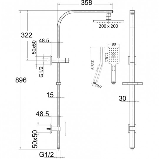 EDEN SQUARE MULTIFUCTION SHOWER SET IN MATT BLACK - PHC7121S-B