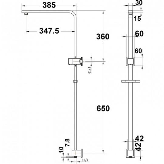 EDEN SQUARE TWIN SHOWER SET-ONE HOS - PRB1067-008CP