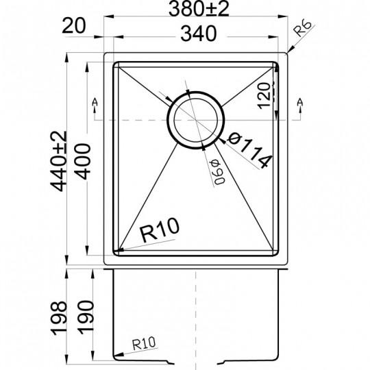 EDEN SINGLE BOWL ABOVE / UNDERMOUNT SINK (R10 CORNER) - PS340R