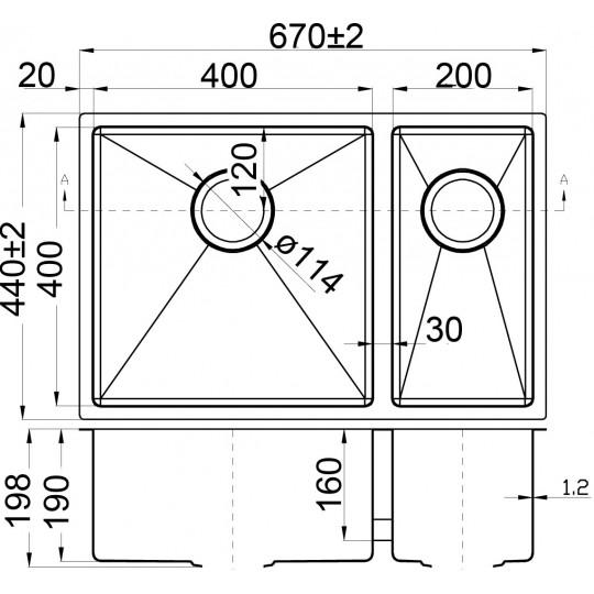 EDEN ONE AND HALF BOWLS ABOVE / UNDERMOUNT SINK (R10 CORNER) - PS670DR