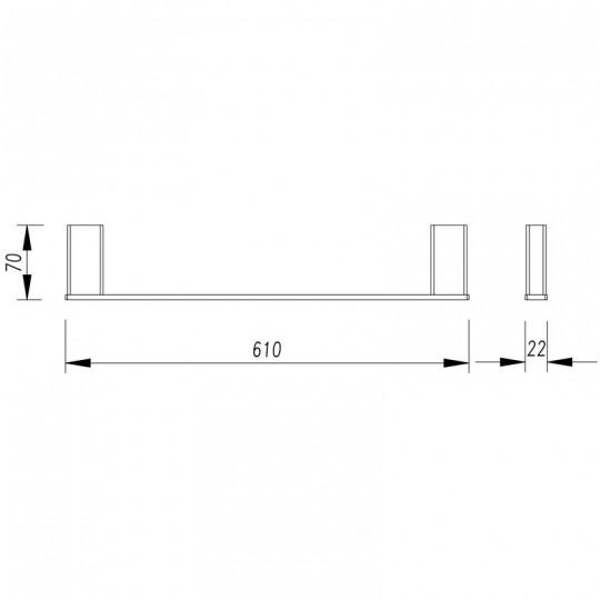 AIKO SINGLE TOWEL RAIL - 7101-610